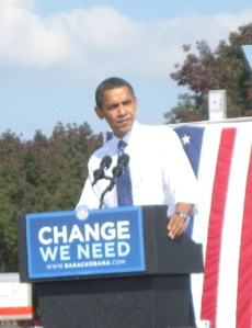 Barack Obama speaks to rally